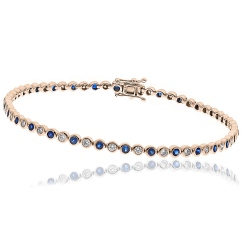 HBRGBS045 Blue Sapphire & Diamond Single Line Bracelet - rose