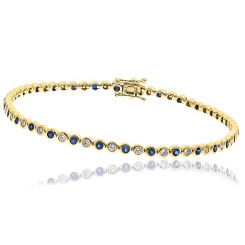 HBRGBS045 Blue Sapphire & Diamond Single Line Bracelet - yellow