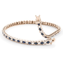 HBRGBS047 Blue Sapphire & Diamond Tennis Bracelet - yellow
