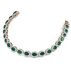 HBRGEM050 Emerald Gemstone Halo Diamond Single Line Bracelet - rose