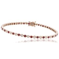 HBRGRY046 Ruby & Diamond Single Line Bracelet - rose