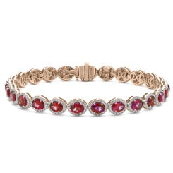 HBRGRY049 Ruby Halo Diamond Single Line Bracelet - rose