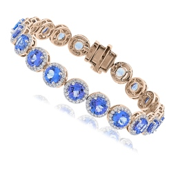 HBRGTZ052 Tanzanite & Diamond Halo Tennis Bracelet - rose