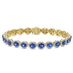 HBRGBS048 Blue Sapphire Halo Diamond Single Line Bracelet - yellow