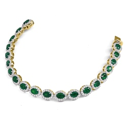 HBRGEM050 Emerald Gemstone Halo Diamond Single Line Bracelet - yellow
