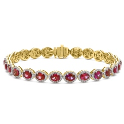 HBRGRY049 Ruby Halo Diamond Single Line Bracelet - yellow