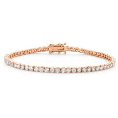 HBRSR072 Single Row Round Diamond Tennis Bracelet - rose