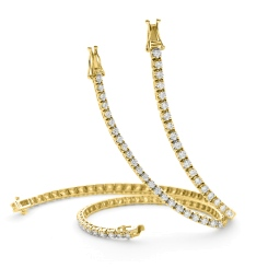 HBRSR075 Claw Set Single Row Brilliant cut Diamond Bracelet - yellow