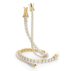 HBRSR077 Single Row Link Round Diamond Bracelet - yellow