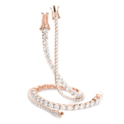 HBRSR077 Single Row Link Round Diamond Bracelet - rose