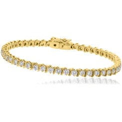HBRSR078 Single Row S-Link Round Diamond Bracelet - yellow