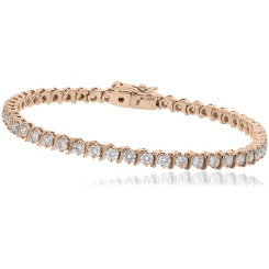 HBRSR078 Single Row S-Link Round Diamond Bracelet - rose