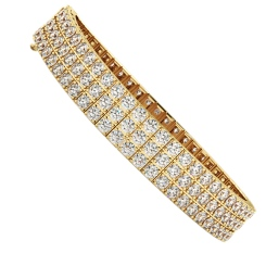 MONICA Triple Row Round cut Tennis Diamond Bracelet - yellow