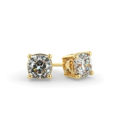 HEC130 Cushion Stud Diamond Earrings - yellow