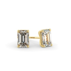 HEE127 Emerald Stud Diamond Earrings - yellow