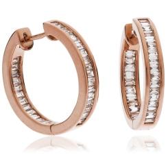 HEE154 Baguette cut Drop Diamond Earrings - rose