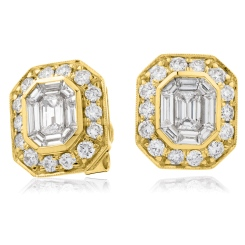 HEECL123 Emerald & Round cut Halo Cluster Diamond Earrings - yellow