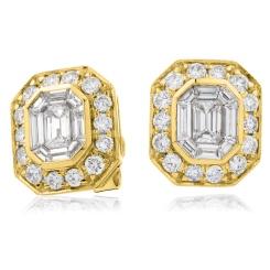 HEECL123 Emerald & Round cut Halo Cluster Diamond Earrings - yellow