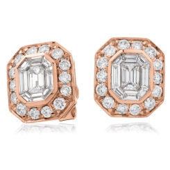 HEECL123 Emerald & Round cut Halo Cluster Diamond Earrings - rose
