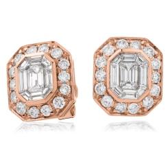 HEECL123 Emerald & Round cut Halo Cluster Diamond Earrings - rose