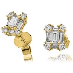 HEECL131 Emerald Cluster Diamond Earrings - yellow