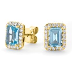 HEEGAQ296 Emerald cut Aquamarine Single Halo Earrings - yellow