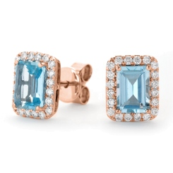 HEEGAQ296 Emerald cut Aquamarine Single Halo Earrings - rose