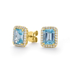 HEEGAQ297 Emerald cut Aquamarine & Diamond Earrings - yellow
