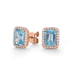 HEEGAQ297 Emerald cut Aquamarine & Diamond Earrings - rose