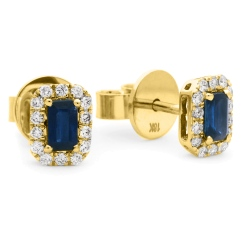 HEEGBS279 Emerald Shape Blue Sapphire & Diamond Halo Earrings - yellow