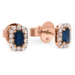 HEEGBS279 Emerald Shape Blue Sapphire & Diamond Halo Earrings - rose