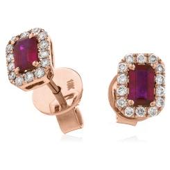 HEEGRY280 Emerald Shape Ruby & Diamond Halo Earrings - rose