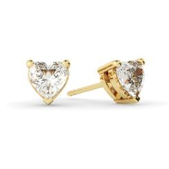 HEH129 Heart Stud Diamond Earrings - yellow