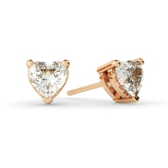 HEH129 Heart Stud Diamond Earrings - rose