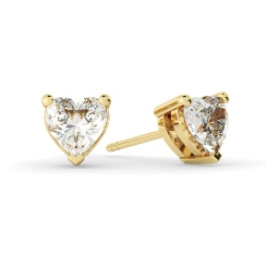 HEH129 Heart Stud Diamond Earrings - yellow