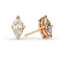 HEM128 Marquise Stud Diamond Earrings - rose