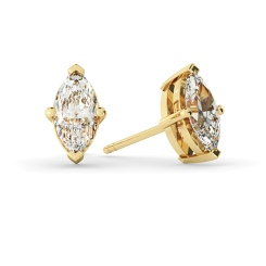 HEM128 Marquise Stud Diamond Earrings - yellow