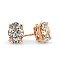 HEO58 Oval Stud Diamond Earrings - rose