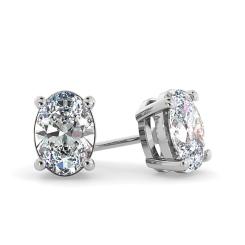 HEO58 Oval Stud Diamond Earrings - white