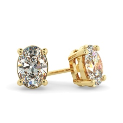 HEO58 Oval Stud Diamond Earrings - yellow