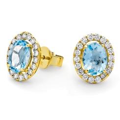 HEOGAQ298 Oval cut Aquamarine Halo Earrings - yellow