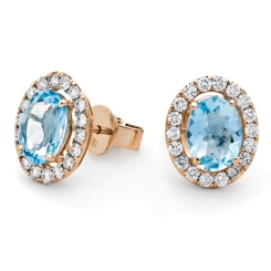 HEOGAQ298 Oval cut Aquamarine Halo Earrings - rose