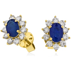 HEOGBS244 Blue Sapphire Halo Earrings - yellow