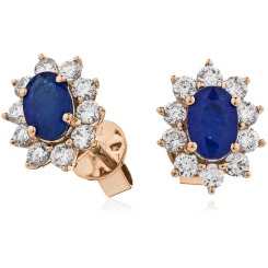 HEOGBS244 Blue Sapphire Halo Earrings - rose