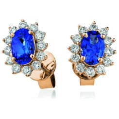 HEOGBS254 Oval cut Blue Sapphire Single Halo Earrings - rose