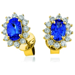 HEOGBS254 Oval cut Blue Sapphire Single Halo Earrings - yellow