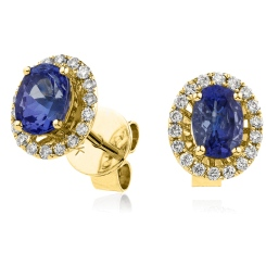 HEOGBS271 Oval cut Blue Sapphire Claw Halo Earrings - yellow