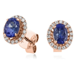 HEOGBS271 Oval cut Blue Sapphire Claw Halo Earrings - rose