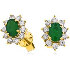 HEOGEM245 Emerald Gemstone Halo Earrings - yellow
