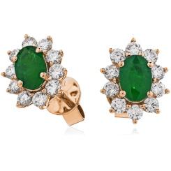 HEOGEM245 Emerald Gemstone Halo Earrings - rose